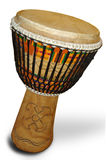 African djembe with Kente cloth. Traditional Kente cloth from Ghana used to decorate Ghanaian drum Royalty Free Stock Photos