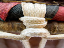 African Djembe - rim detail. Djembe - detail of top rim and knotting Stock Photos
