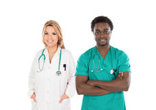 African doctor with a blonde medical woman Royalty Free Stock Images