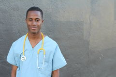 African doctor portrait with copy space.  Stock Images