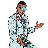 African doctor surgeon handshake. robot prosthesis. Pop art retro vector illustration kitsch vintage vector illustration