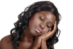 African dreaming beautiful woman Stock Image