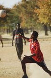 African dreams #4. Football player practising his skills on a makeshift football pitch, Namibie, Southern Africa Royalty Free Stock Photos