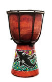 African drum. With dolphin paint, isolated Royalty Free Stock Image