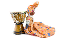 African drum and African doll Royalty Free Stock Image