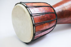 African drum close up photo. African drum djembe close up photo isolated on white Stock Photos