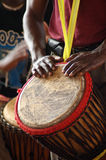African drummer 2. Close up of an African djembe drummer Royalty Free Stock Photo