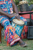African drummer. African man playing the African drum, djembe Royalty Free Stock Image