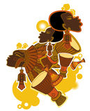 African Drummer. An artistic illustration showing an African tribal drummer, isolated on a white background Royalty Free Stock Image