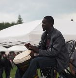 African Drummer. With at Edmonton Alberta Heritage Days August 5, 2017 Royalty Free Stock Photo