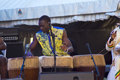 African Drummer. A drummer for the Nile Project performs at the Safaricom International Jazz Festival held on the 23rd of February, 2014 at the Ngong Racecourse Stock Photo