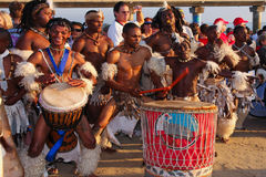 African drummers. South african ethnic drummers playing before the start of the April 2009 Nelson Mandela Bay Ironman Triathlon Stock Photo