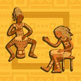 African drummers. Percussion players. Tribal music. Colorful cartoon characters of musicians. Stylized percussionists on patterned background. Isolated vector Royalty Free Stock Photo