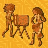 African drummers. Percussion players. Tribal music. Colorful cartoon characters of musicians. Stylized percussionists on patterned background. Isolated vector Royalty Free Stock Photography