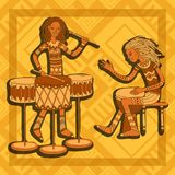 African drummers. Percussion players. Tribal music. Colorful cartoon characters of musicians. Stylized percussionists on patterned background. Isolated vector Stock Image