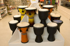 African drums. Beautiful African drums displayed in an art store in Pike Market royalty free stock photo