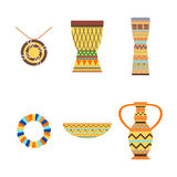 African drums and vase vector illustration. Royalty Free Stock Image
