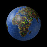 African economies in stock market tickers on globe. World economies series with stock market tickers sliding on globe centered on Africa Royalty Free Stock Photos