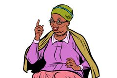 African elderly woman pointing finger up, isolate on white backg Stock Images