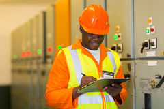 African electrical engineer royalty free stock photo