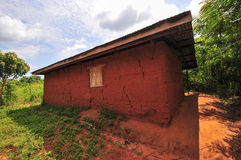 African Elementary School Classroom. Exterior of an elementary school classroom in the Yilo Krobo District not far from Accra, Ghana. Dirt floor. Mud baked royalty free stock image
