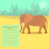 African Elephant. An Elephant Against Symplistic Nature Background and Poster with Space for Interesting Facts about this Animal. Educational Card for Childrens Royalty Free Stock Photo