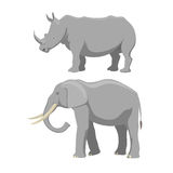 African elephant and rhinoceros cartoon vector illustration. African elephant isolated on white. Baby animal indian zoo vector illustration. Nature mammal vector illustration
