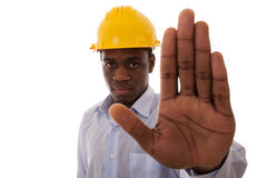 African engineer order to stop Stock Photos