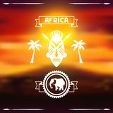 African ethnic background on evening savanna Stock Image