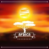 African ethnic background on evening savanna Royalty Free Stock Photos