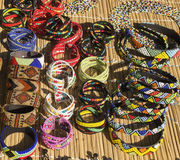 African ethnic handmade beads necklaces and bracelets. Royalty Free Stock Photography
