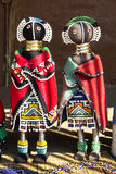African ethnic handmade beads rag dolls. Local craft market. stock image