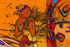 African ethnic retro vintage art Royalty Free Stock Image