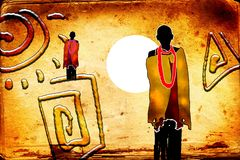 African ethnic retro vintage art Stock Image