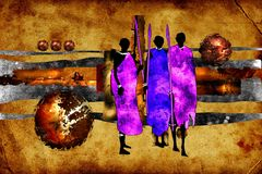 African ethnic retro vintage illustration. Good for any design or project Stock Images