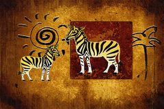 African ethnic retro vintage illustration Stock Image