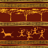 African ethnic seamless pattern. With aborigine hunting Royalty Free Stock Photos