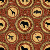 African ethnic seamless pattern. Abstract textured background wi. Th african animals Stock Photo