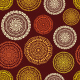 African ethnic seamless pattern. Sketch circular ornaments Stock Images