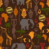 African ethnic seamless pattern with stylized Stock Image