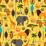 African ethnic seamless pattern with stylized. Icons Stock Images
