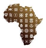 African ethnic symbols. Africa map with set of ethnic symbols on surface Stock Photo