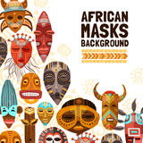 African Ethnic Tribal Masks Illustration. Flat background with colorful african ethnic tribal masks of different size and shape vector illustration vector illustration
