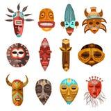 African Ethnic Tribal Masks Set Stock Photography