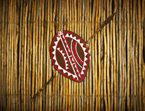 African Ethnic tribe shield & spear. Africa tribes shield in the Woodland style. A still life photograph showing a set of hand made traditional Africa tribal royalty free stock photography