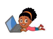 African ethnicity Little girl on laptop. African ethnicity Kid lying on the floor using laptop computer Stock Photos
