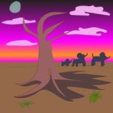 African evening landscape with baobab and elephant family Royalty Free Stock Image