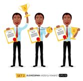 African excited smiling cartoon man raising up trophy medal cert Royalty Free Stock Image