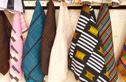 African Fabric. At outdoor market in Accra Ghana Royalty Free Stock Photos