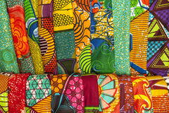 African fabrics from Ghana, West Africa. African traditional fabrics in a shop in Ghana, West Africa stock images
